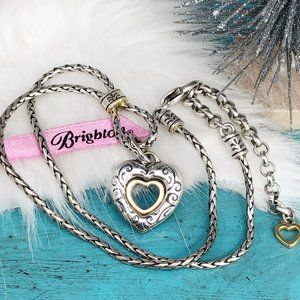 Brighton Two Tone Open Heart Necklace~ Reversible